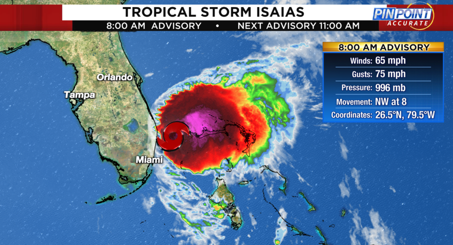 Live Track Forecast Cone Computer Models Updates As Tropical Storm Isaias Approaches Florida