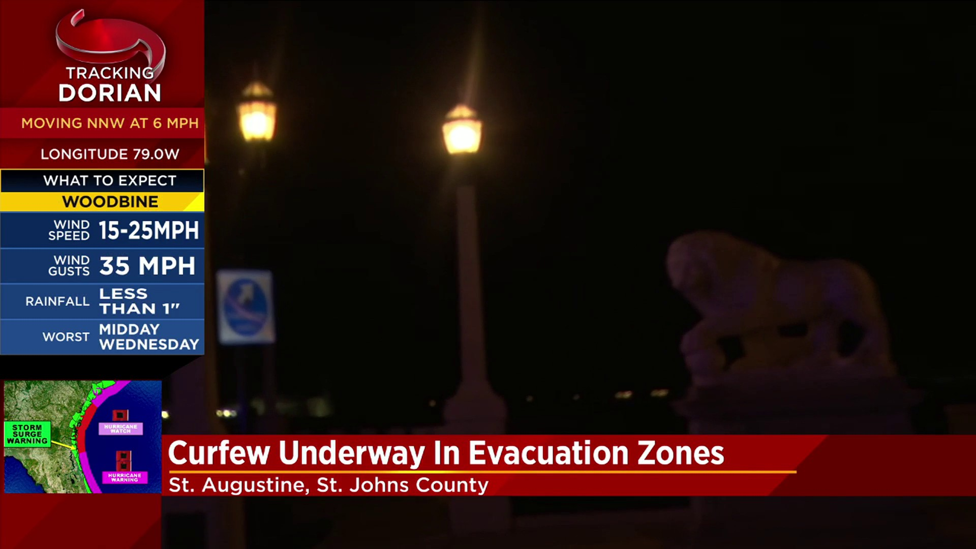 Nightly curfew for parts of St. Augustine during Hurricane Dorian